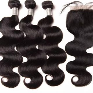 Brazilian body wave human hair 3 bundles + closure combo