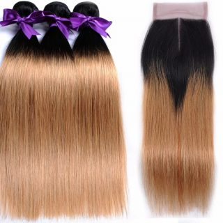Brazilian hair ombre bundles + closure combo