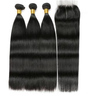 Peruvian straight human hair 3 bundles - closure combo
